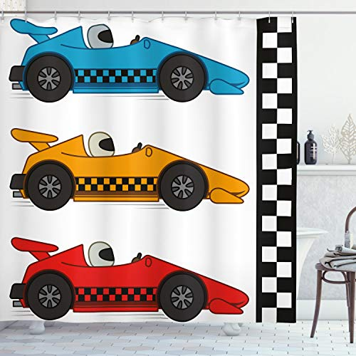 Lunarable Nursery Shower Curtain, Race Cars at Start Line Adrenaline Exotic Sports Championship Theme, Cloth Fabric Bathroom Decor Set with Hooks, 84' Long Extra, Marigold Blue