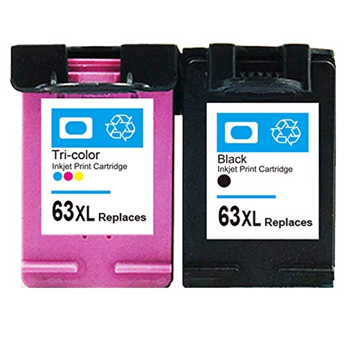 DLKJ 63 XL Cartucho de Tinta Compatible para HP 63XL, Alto Rendimiento Trabajo con OfficeJet 3830 envidia 4520 4512 OfficeJet 4650 5255 Deskjet 1112 3634 3639 3632 Impres