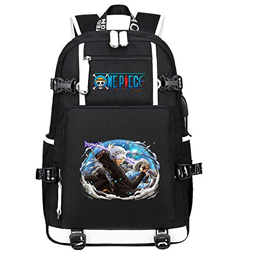 ZZGOO-LL One Piece Monkey·D·Luffy/Trafalgar Law Anime Backpack Middle Student School Rucksack Daypack for Women/Men with USB-B