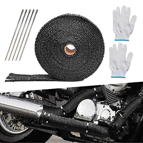 LAMEK 10 M Schwarz Hitzeschutzband Motorrad Basaltfaser Auspuffband Hitzeschutz Auspuff Band mit 10 Kabelbinder Nylonhandschuhe Hitzebeständig Thermoband für Fächerkrümmer Auspuffanlagen