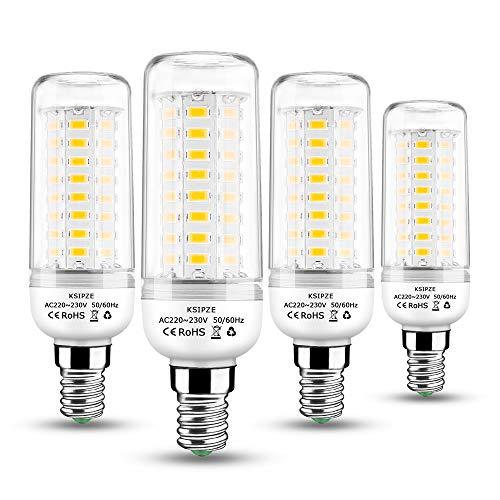 KSIPZE E14 LED Warmweiß Lampen 10W Mais Birne 3000K 800LM Entspricht Glühbirnen 60W Nicht Dimmbar Energiesparlampe Kleine Edison-Schraube Leuchtmittel für Kronleuchte 4er Pack