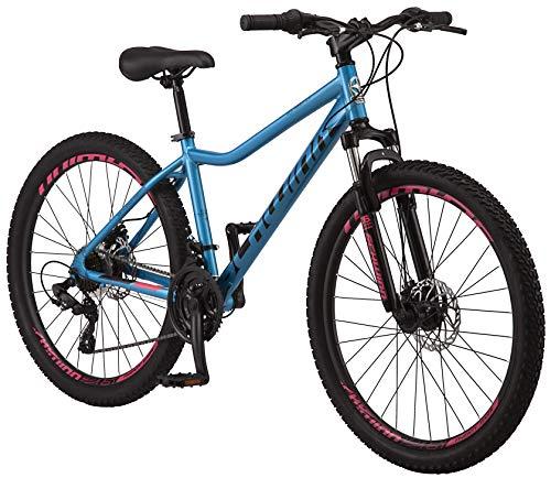 Schwinn High Timber ALX Youth Adult Mountain Bike, Aluminum Frame and Disc Brakes, 26-Inch Wheels, 21-Speed, Blue