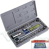 Kit 40 chiavi bussola chiave cricchetto tubo AIWA pollici set esagonale acciaio