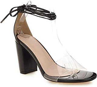 MIOKE Women's Clear Strappy Chunky High Block Heel Sandals Open Toe Lace Up Dress Pump Heeled Sandal