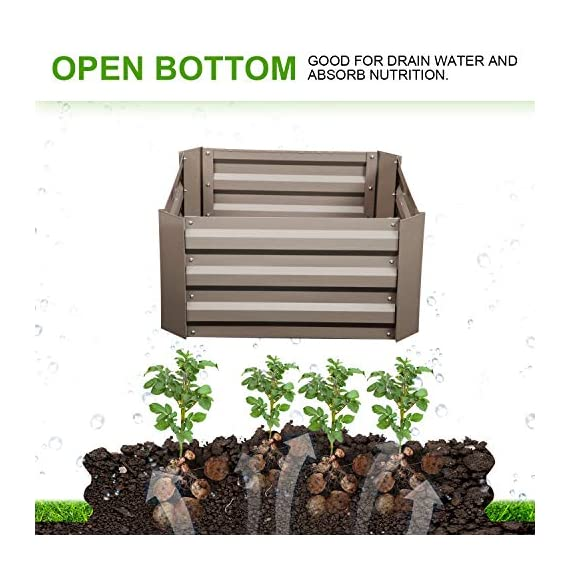 """Klismos 2'x2'garden bed metal outdoor galvanized steel planter box patio raised garden bed kit for vegetables/flower… 4 【overall dimensions】---- 94. 48""""(l)x47. 24""""(w)x11. 81""""(h) 【open-bottom garden bed】 【easy to assemble for the outdoor planter boxes】"""