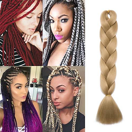 """Silk-co Meches Pour Tresses Africaine Synthetique Tressage Afro Un Paquet 100G One Piece Braiding Hair Extension Yaki - 24""""/60CM,Blond Cendré"""