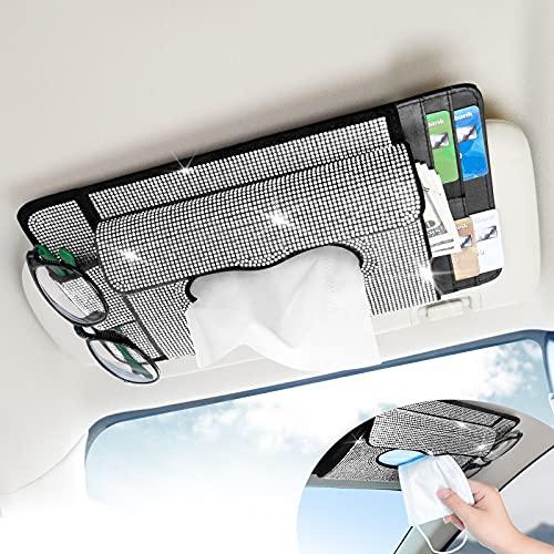 Senose Soporte para pañuelos de coche, organizador de visera con cartera para tarjetas, dispensador de pañuelos brillantes para...
