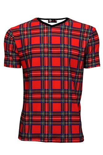 Men's Classic Red Tartan Punk T-shirt, S to XL