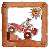 Sunland Artisans 13in Sm Kokopelli Jeep Off Roader Colorful 3D Floating Rustic Metal Wall Art