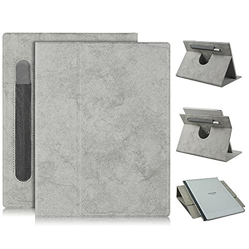 Xuanbeier Rotierende Hülle Kompatibel mit Remarkable 2 Paper Tablet Schutzhülle mit Stifthalter & Standfunktion,Grau