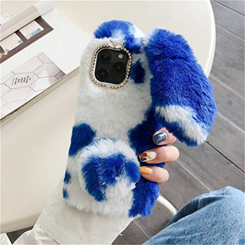 HPHRE Fuzzy Galaxy A01 Case, Fluffy Bunny Ear Cases - Cute Furry Blue Plush Rabbit Fur Phone Cases for Girls Women Winter Warm Soft Back Shockproof Protective Cover with Bling Glitter