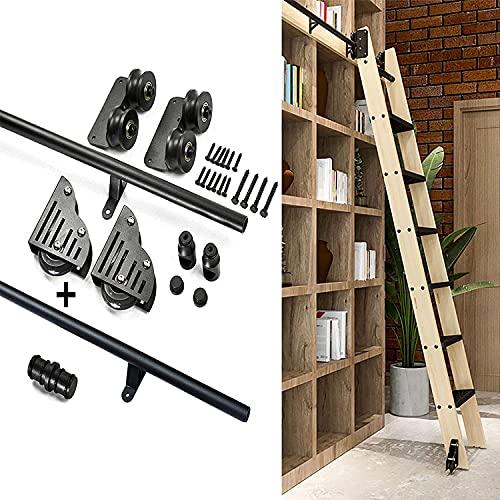 SEYE Kit de Puerta corrediza de Granero Biblioteca de Escalera corrediza Juego Completo de Hardware Riel rodante (sin Escalera), Escalera rodante para el hogar/Interior/Loft