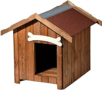 dobar Outdoor Weatherproof Outdoor Insulated Dog House with Pointed Roof (Pine Wood)–Made in the EU