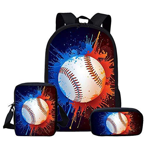Nopersonality Kinder Rucksack Baseball Fußball Galaxy Schultaschen für Mädchen Jungen 3er-Set, Baseball 3 (Blau) - M-CC3194CEK+