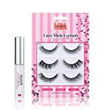 CALAILIS 3 Pairs False Eyelash| 3D Faux Mink Fake Eyelash| Lightweight| Reusable| Easy to Apply| 100% Handmade| Cruelty-free| 3 Mixed style| with 5g Latex Free & Waterproof Glue| CS01