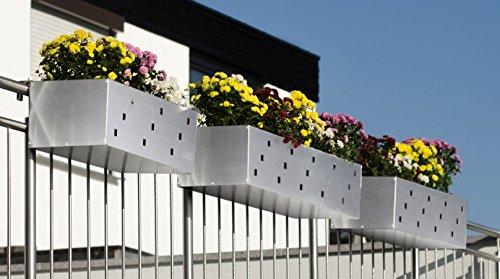 Reinkedesign Blumenkasten aus Edelstahl inkl. Kunststoff Einsatz mit Wasserstandsanzeige (103,50cm)
