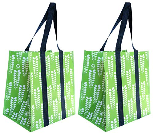 Reusable Shopping Bags, X-Large, Stay Open Premium Wipe Clean (2, Green Leaves)