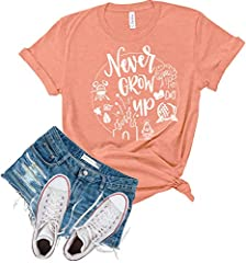 """🧚♂️Airlume Combed and Ringspun CottonPoly blend for a super soft, comfortable feel 🧚♂️Our """"Never grow Up"""" shirt is perfect for your Disney Vacation! Cute Vacation Shirt, Birthday Gift, Holiday Shirt, Summer Shirt 🧚♂️Unisex Sizing, women should ord..."""