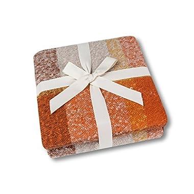 Soft Lap Plaid Throw Blanket-Soo Angeles 100% Acrylic Woven Yarn Dyed Fringed Plaid Throw Blanket Bed Blankets Bedspread Soft Cozy Blanket ORANGE PLAID 50  W x 67  L