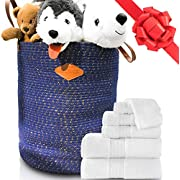 Cotton Rope Basket 20 x 18 Jumbo Size - Large and Tall Basket for Nursery, Towel, Blanket, Baby Toy or Laundry Storage Bin - Beautiful Gold Stitch Woven Basket With Heavy Duty Leather Handles