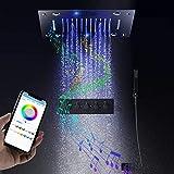Columna de ducha ESIP, sistema de ducha termostático RGB multifuncional, juego de ducha de 400x400 mm, con modo lluvia, modo cascada, modo chorro, teleducha, 16 colores de luz LED