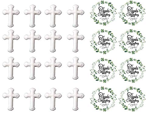 24pk White Small Cross Sugar Decoration Toppers for Cakes Cupcakes Cake Pops with Sparkle Flakes & Decorating Stickers