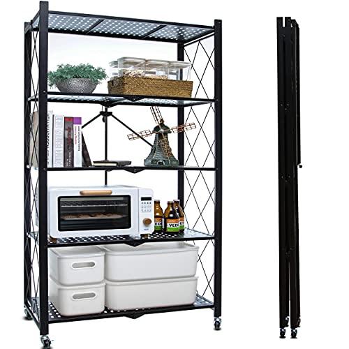Citylife 5-Tier Storage Shelves with Wheels Foldable Shelving Unit Heavy Duty Garage Metal Storage Rack Kitchen Shelf for Storage