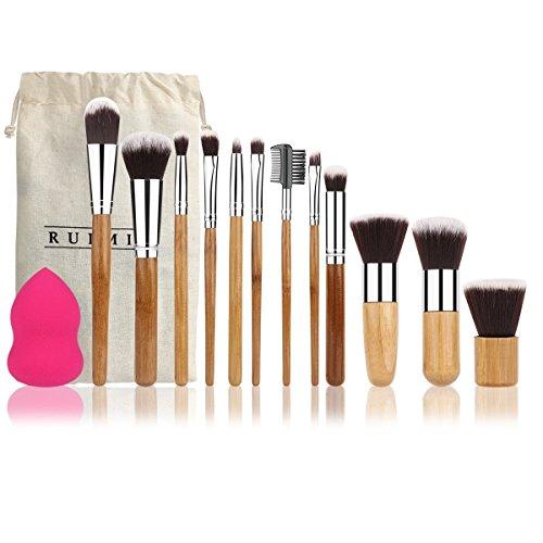 RUIMIO Lot de 12 pinceaux de maquillage en bambou et 1 citrouille avec sac