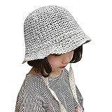 Sombrero para el Sol de Verano para niñas Sombrero de Paja Anti UV Plegable Sombreros de Cubo Sombrero de ala Ancha para la Playa Gorra de protección Solar moldeable Sombreros de Vacaciones de Viaje