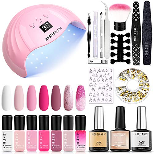 Modelones Gel Nail Kit with 48W LED Light - 7 Colors Pink Series Gel Nail Polish Set, No Wipe Base...