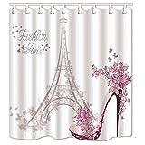 KOTOM Paris France cortinas de ducha, zapatos de tacón alto y flor con la torre Eiffel Tela de poliéster resistente al agua Baño cortina de baño molde a prueba de resistencia con 12 ganchos, 180x180cm