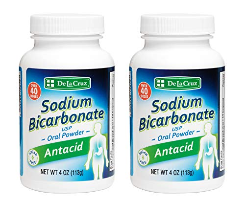 De La Cruz Pure Sodium Bicarbonate, USP Grade, Antacid Powder, Packed in USA 4 OZ. (2 Bottles)
