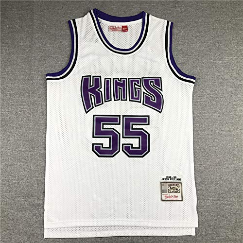 LYY Jerseys De Baloncesto para Hombres, NBA Sacramento Kings # 55 Jason Williams - Classic Comfort Chalecos Transpirables Camiseta Uniformes Deportivos Tops,Blanco,S(165~170CM)