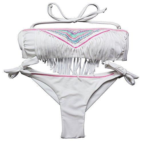 EONAR Damen Push-Up Bikini-Sets Bademode mit Quast Fransen Seitlich Gebunden Bandeau(L,White)