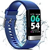 Fitness Activity Tracker for Men Women, Heart Rate Monitor Blood Oxygen Sleep Tracking Steps Calorie Counter, IP68 Waterproof 1.14'' HD Screen, Compatible with iPhone Android Smart Phones (Blue