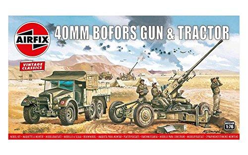 Airfix A02314V 1/76 Morris CS8 15-CWT Geschütz Modellbausatz Bofors 40mm Gun & Tractor,Vintage Classi, grau