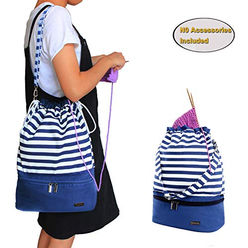 Teamoy Drawstring Yarn Bag, Knitting Tote Bag for Yarn, Unfinished Project, Knitting Needles and Accessories, Blue Strips (No Accessories Included)