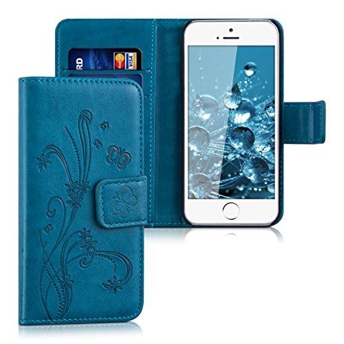 kwmobile Funda para Apple iPhone SE / 5 / 5S - Carcasa de cuero sintético con diseño de flores y mariposas - Case con tarjetero