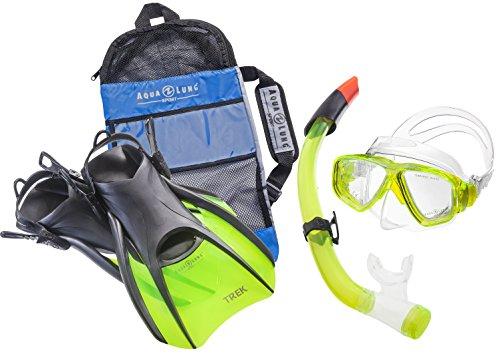 Aqua Lung Sport La Costa Travel Deluxe 3er Set (Tauchmaske, Schnorchel & Flossen) inkl. Beutel - Lime - Gr. 44-48