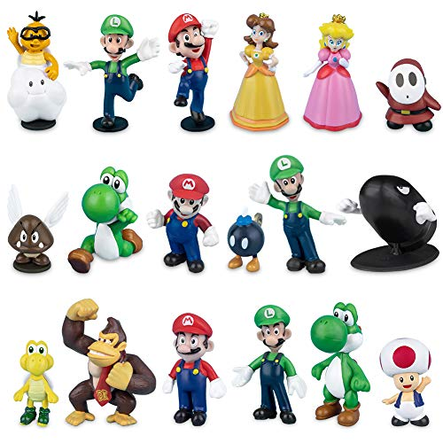 Labeol 18 Stück Super Mario Brothers Mini Figuren Set Geburtstags Party liefert Cupcake Figuren Cake Topper für Kinder Baby Party Dekoration