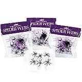 Holijolly - Decoraciones De Tela De Araña De Halloween Con 24 Arañas Falsas, Telarañas Súper Elásticas Para Decoración De Fiestas En Interiores Y Exteriores, 240 g, 74 Metros Cuadrados
