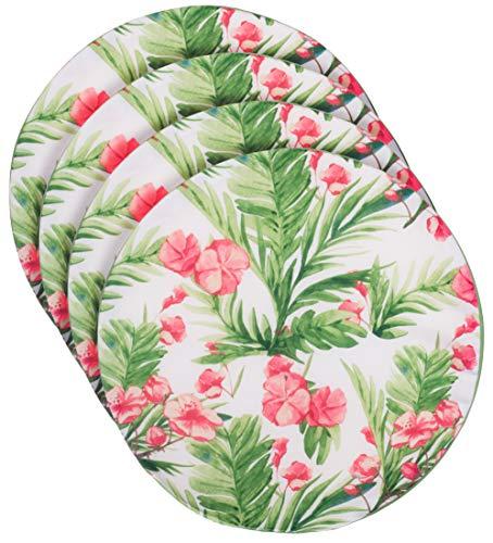 Brandseller - Set di 4 cuscini per sedia, rotondi, Ø 40 cm x 3 cm, motivo floreale, colore: verde scuro/rosa