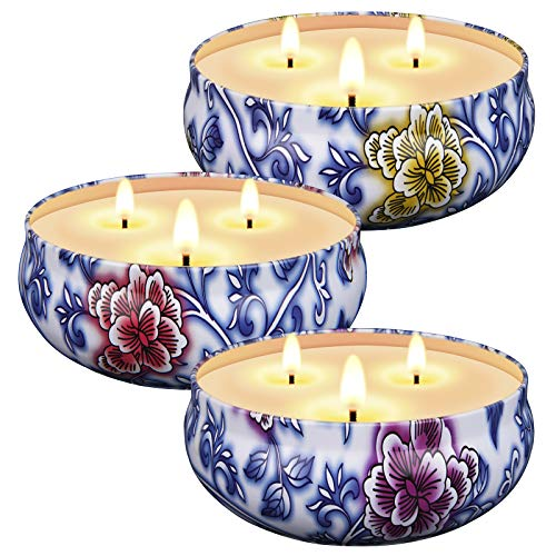 Scented Candles Gift Set for Women, 3 x 13.5 Oz Soy Wax Candles for Home Scented, 3 Fragrances, Aromatherapy for Stress Relief, 3 Wicks, Clean Burn without Black Smoke, 75 Hours Burn Time Each, 3 Pack