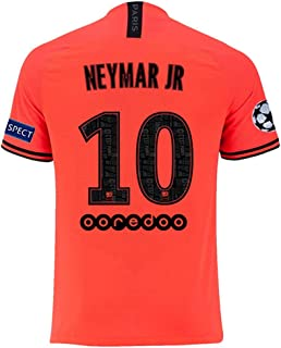 agsfxa Paris Saint Germain X New 2019/2020 Season 10 Neymar Away Mens Soccer Jersey & League Armbands Red(S-XL)