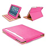 """MOFRED® Pink & Tan Apple iPad Air (Launched November 2013) Leather Case-MOFRED- Executive Multi Function Leather Standby Case for Apple iPad Air with Built-in magnet for Sleep & Awake Feature -- Independently Voted by """"The Daily Telegraph"""" as #1 iPad Air Case! (For iPad Models A1474,A1475 and A1476)"""