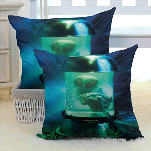 Outer Space Hypo-Allergenic Poly Pillow Cases Martian UFO Alien in a Aquarium Like Tube Artwork Image Machine Washable Durable Decorative 2PCS - W24 x L24 inch Blue Sky Blue and Pale Green