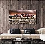 QWESFX Running Horses Arte de la Pared Pinturas sobre Lienzo Animales Abstractos Carteles e Impresiones Pop Art Prints Imágenes para la Sala de Estar (Imprimir sin Marco) A5 60x120CM