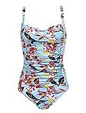 Ekouaer One Piece Swimwear Women's Tummy Control Swimsuit Bathing Suit(Flower Red,Large)