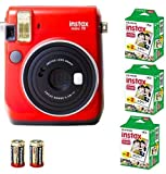 Bundle Fuji Instax Mini 70 Instant Camera Red + 60-shot Film + 2 Spare CR2 Battery: all you need to start Instant photography