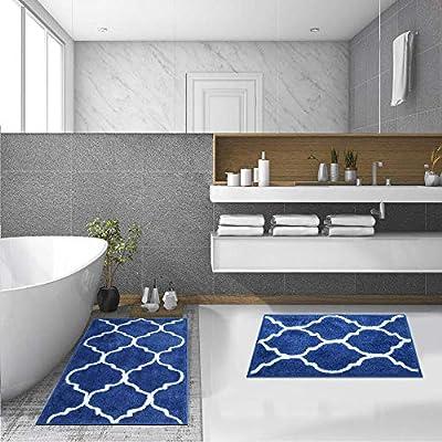 "HEBE Bathroom Rug Set 2 Pieces 26""x18""+32""x20"" Water Absorbent Bath Rugs and Mats Set Non Skid Bathroom Mat Floor Rug Set Machine Washable"